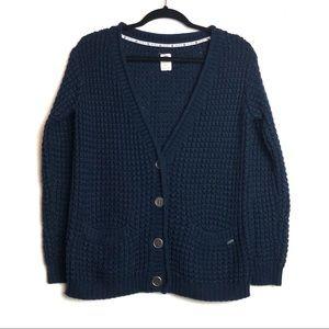 Roxy Navy Blue Knit Pouch Pocket Cardigan Small